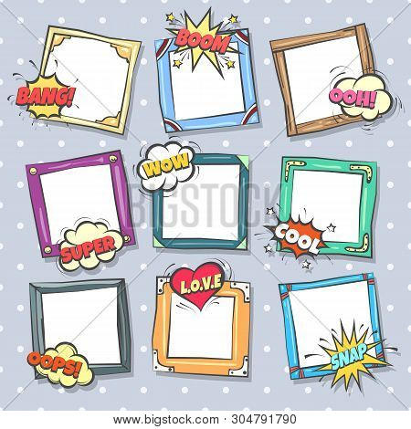 Comics Design Frames. Beautiful Photo Frame Set With Boom Bubbles For Design Collage, Funny Cute Com