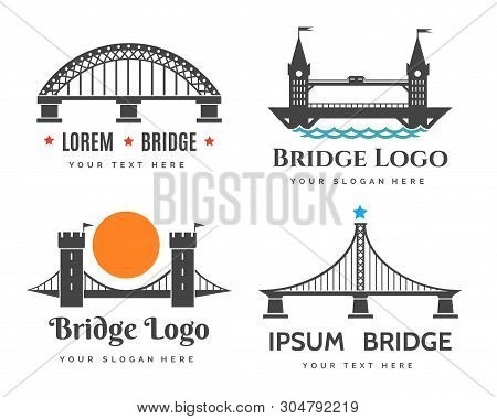 Bridges Logo. Abstract Bridge Logos Symbols For City Tourism And Road Construction Company, Curved V