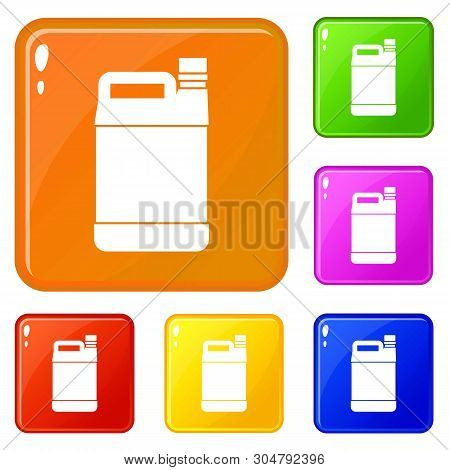 Jerrycan Icons Set Collection Vector 6 Color Isolated On White Background
