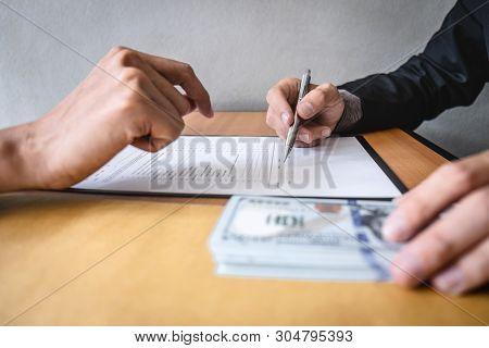 Dishonest Cheating In Business Illegal Money, Businessman Receive Bribe Money In Envelope To Busines