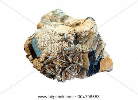 Mineralogical Specimen Conglomerate Of Morion Crystals, Feldspar And Mica Isolated On Gray Backgroun