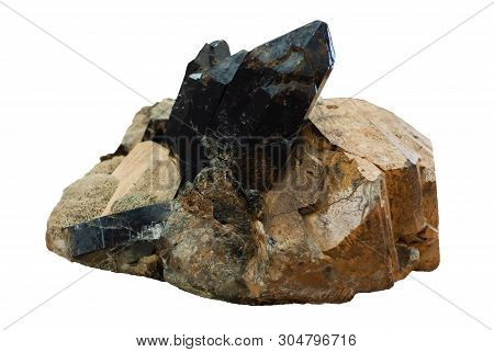 Mineralogical Specimen Conglomerate Of Morion Crystals, Feldspar And Mica Isolated On White Backgrou