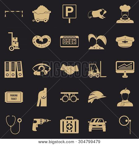 Ideal job icons set. Simple set of 25 ideal job vector icons for web for any design poster