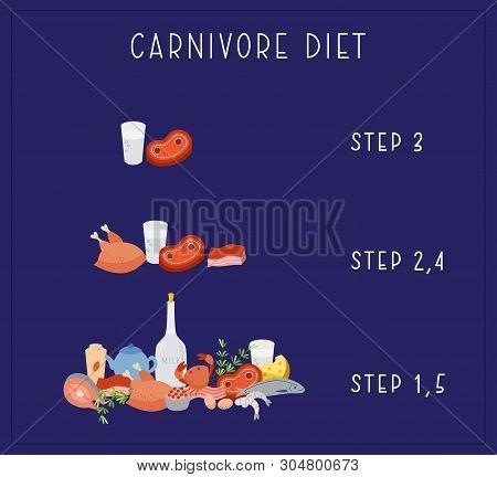 Carnivore Diet - Vector. Carnivore Diet - Steps. Excellent For Poster, Banner, Article Illustration