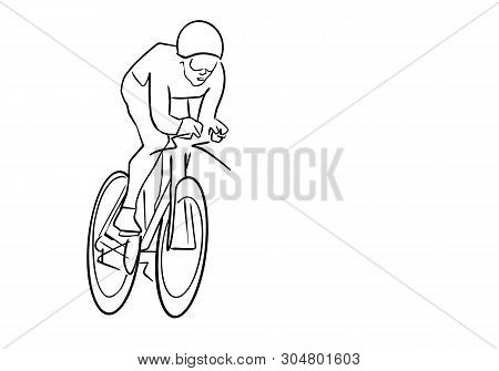 Single Male Bicyclist On Bicycle. Abstract Isolated Contour. Hand Drawn Outlines. Black Line Drawing