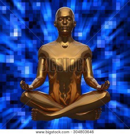 Figure Of Man In Lotus Pose Stylized Golden Statue On Blue Background. Human Character Meditate Life