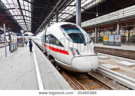 high speed train in classicistical station