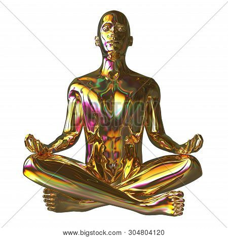 Golden Man Lotus Pose Stylized Figure Sparkling Glossy. Human Mental Guru Character. Peaceful Nirvan