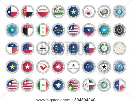 Set Of Vector Icons. Flags And Seals Of Texas State, Usa. 3d Illustration.