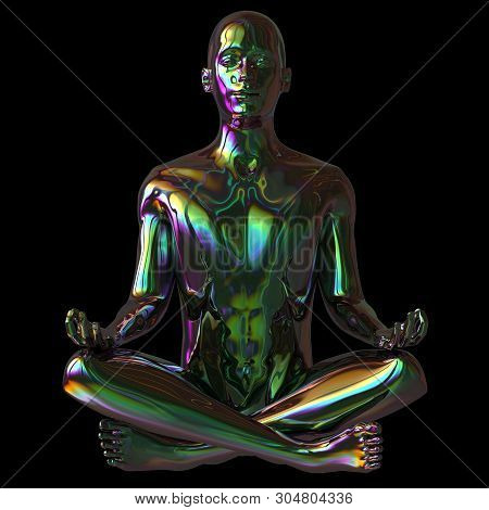 Man Lotus Pose Stylized Figure Sparkling Glossy Colorful Reflection. Human Mental Guru Character. Pe