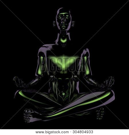 Man Lotus Pose Stylized Figure. Human Mental Guru Character Black Glossy Statue. Peaceful Nirvana Yo