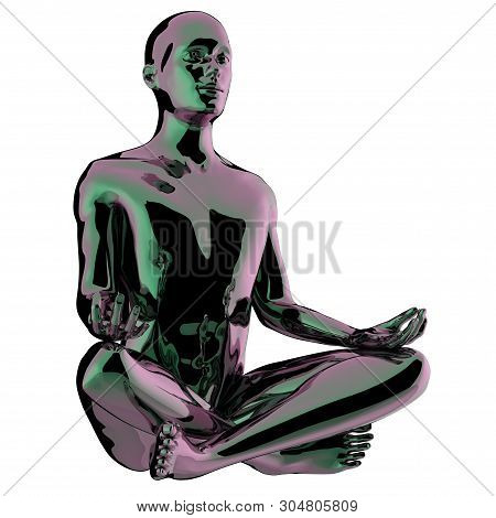 Yoga Man Meditating Lotus Pose Stylized Glossy Statue. Mind Body Soul Spirit Balance Icon Concept. H