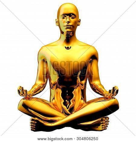 Golden Man Figure Yoga Lotus Pose Stylized Sparkling Glossy. Peaceful Nirvana Meditate Symbol. Human