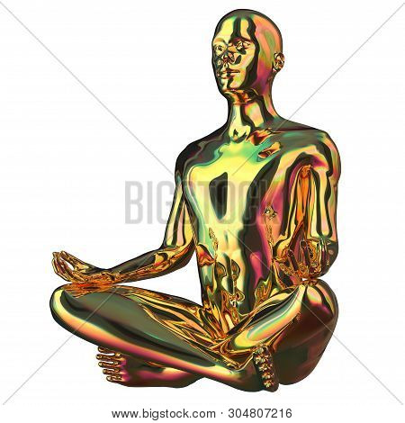 Yoga Man Lotus Pose Golden Stylized Figure Polished Sparkling. Human Mental Guru Character Gold Stat