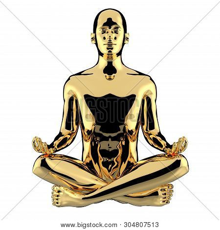 Man Yoga Lotus Pose Golden Character Stylized Figure Polished. Peaceful Nirvana Meditate Soul Balanc