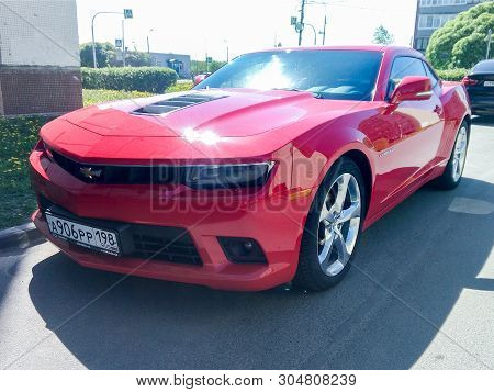 St. Petersburg, Russia - 25 May, Parked Sports Car Chevrolet Camaro, 25 May, 2019. The Parade Of Ret