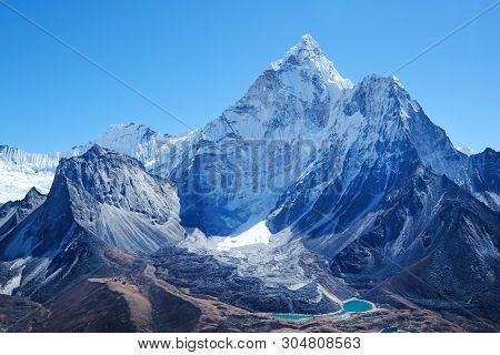 Snowy Mountains Peaks. Mountain Peak Everest. Highest Mountain In The World. National Park, Nepal.