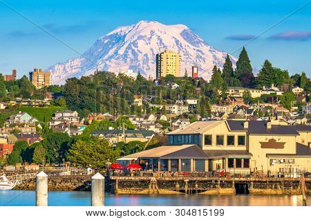 poster of Tacoma, Washington, USA with Mt. Rainier in the distance on Commencement Bay.