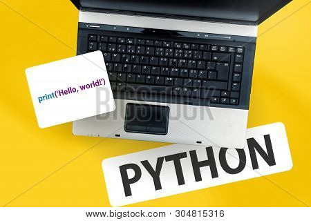 Python Programming Language. Laptop On Word Python