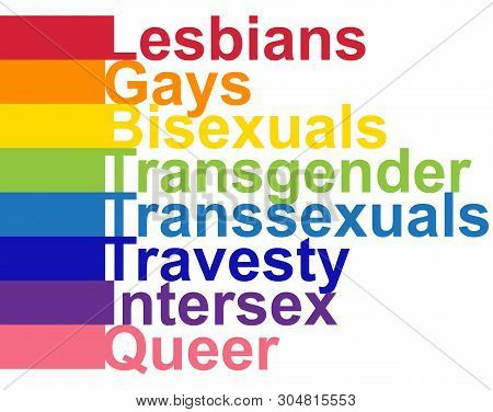 Lgbt Concept, Motivating Phrase In The Colors Of The Rainbow. Decoding Abbreviations Lgbt. Lesbian,