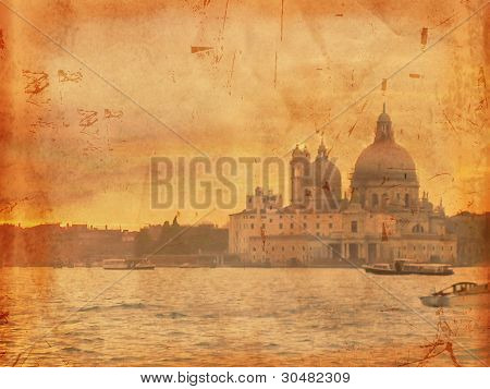 Venice Sunset Over Old Paper
