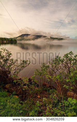 Fog On A Mountain On Lake Pleasant Speculator New York, Adirondacks