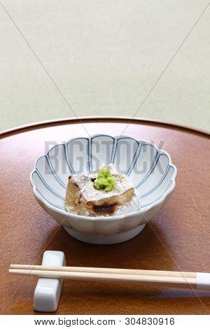 homemade baked sesame tofu, yaki gomma dofu,  japanese traditional vegan cuisine