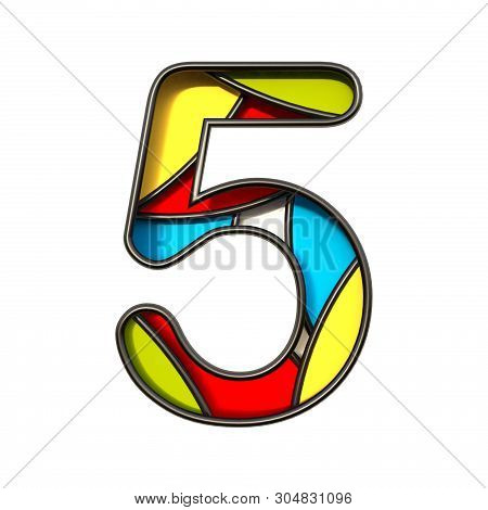 Multi Color Layers Font Number 5 Five 3d Rendering Illustration Isolated On White Background