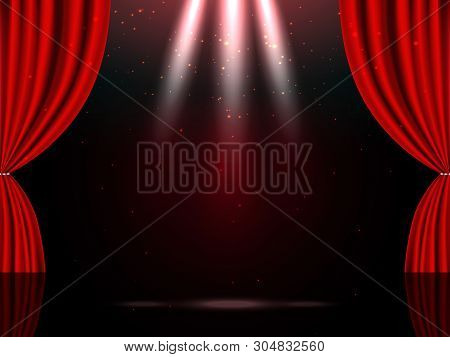 Empty theatrical scene stage with red curtains and lights poster