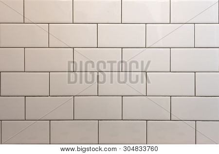 White Subway Tile With Black Grout Background Image