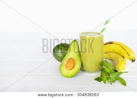 Avocado With Banana Green Smoothies Colorful Fruit Juice Milkshake Blend Beverage Healthy High Prote