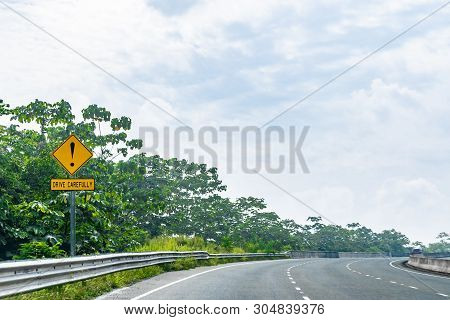 Exclamation Symbol/sign Drive Carefully Caution Warning Street/road Signage On Dual Carriageway High