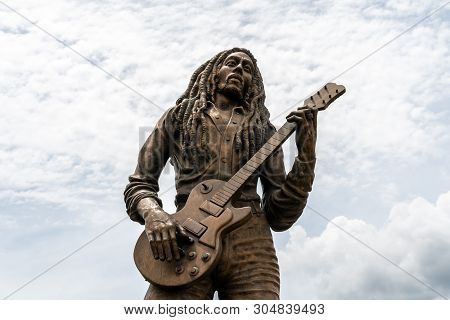 Kingston/st Andrew, Jamaica - May 21 2019: Bob Marley Life Sized Bronze Statue  Monument For The Leg