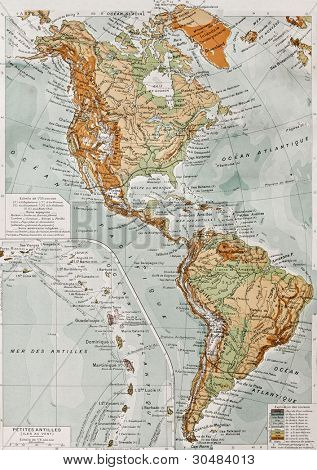 America physical map with Lesser Antilles insert map. By Paul Vidal de Lablache, Atlas Classique, Librerie Colin, Paris, 1894 (first edition)