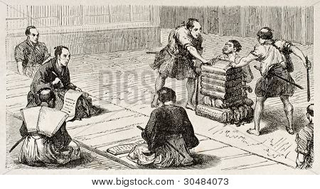 Accused man in a Japanese tribunal, old illustration. Created by Crepon, published on Le Tour Du Monde, Ed. Hachette, Paris, 1867