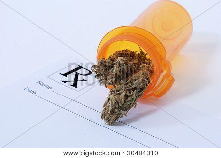 Cannabis Bud on prescription pad