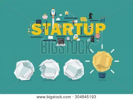 Crumpled Paper Balls And Light Bulb Idea Startup Concept. Vector Illustration