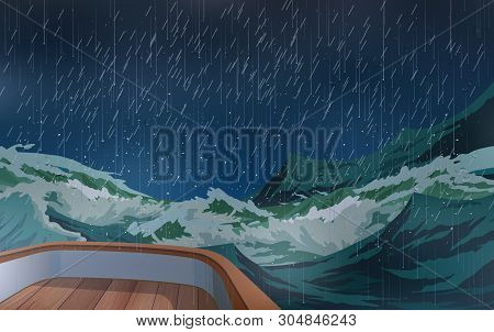 Wooden Boat In Strom At The Ocean