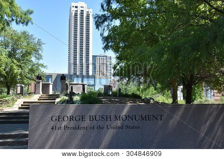 Houston, Tx - Apr 20: George H.w. Bush Monument, Located In Sesquicentennial Park, In Houston, Texas