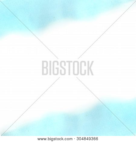 Abstract Blue, Cyan Watercolor Gradient On White Background. The Color Splashing In The Paper. It Is