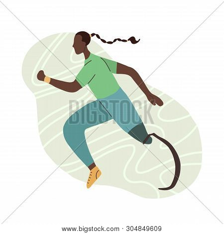 Flat Illustration Of African Girl Runner With Prosthetic Leg.  Jogger Sportswoman. Stylized Strong A