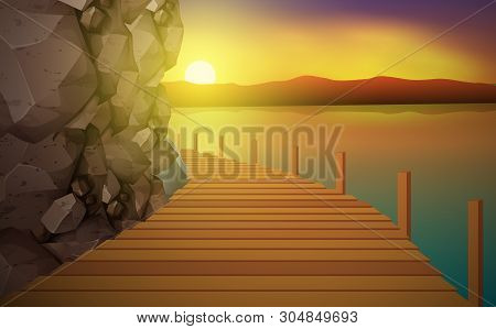 Wooden Walkway Board At The Rocky Mountains By The River In The Morning