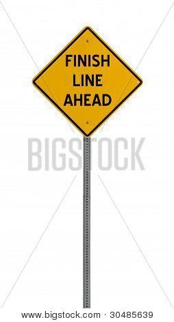 finish line ahead - Yellow road warning sign