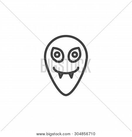 Funny Alien Line Icon. Ufo Invader Linear Style Sign For Mobile Concept And Web Design. Humanoid Hea