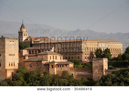 Alhambra Palace Close Up And Alpujarra Mountains