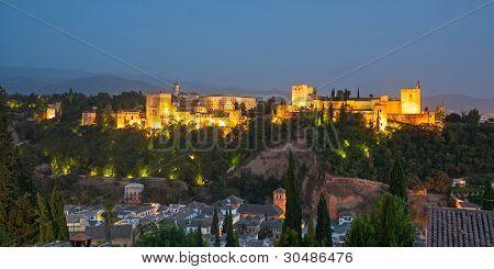 The Alhambra In Granada From Albaicin At Night