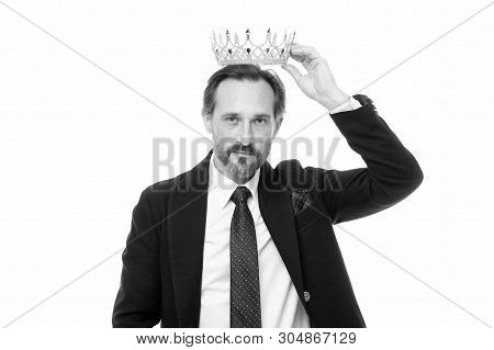 Man nature bearded guy in suit hold golden crown symbol of monarchy. Direct line to throne. Enormous privilege. Become king ceremony. King attribute. Become next king. Monarchy family traditions. poster