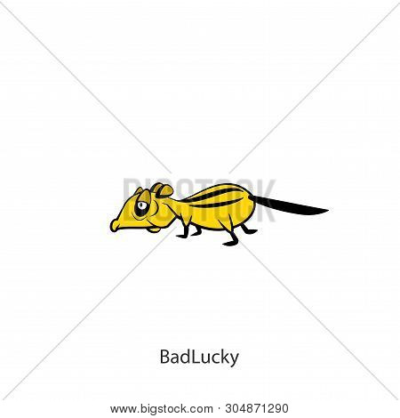 Rodent Cartoon Character. The Ridiculous Tired Chipmunk Is Slowly Walking. Vector. Conceptual. Next
