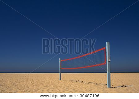 Beach Volleyball Net Under a Blue Sky