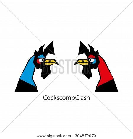 Cartoon Farmer Feathered Character. Heads Of Funny Cool Colored Roosters. Vector. Cock-fights. Conce